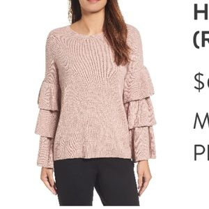 Halogen Ruffled sleeve pink sweater